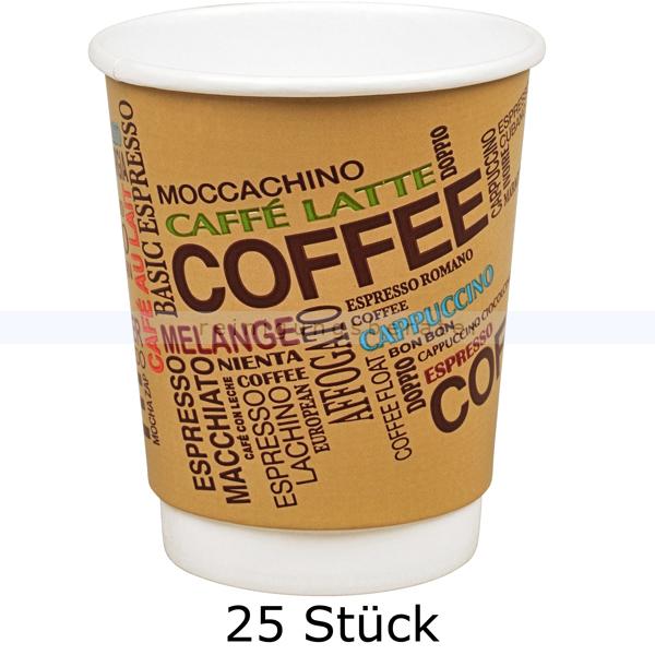 abenagastroline Trinkbecher, Kaffeebecher Coffee groß 0,36 L, 25 Stück Einwegbecher für Heißgetränke 132085