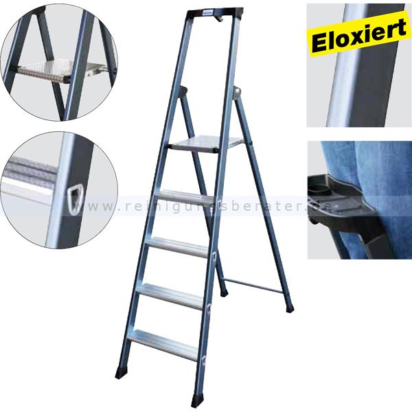 trittleiter krause sepro eloxiert 4 stufen. Black Bedroom Furniture Sets. Home Design Ideas