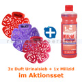 Urinalsieb Testset mit 3 Duft-Urinalsieben & 1 x Milizid