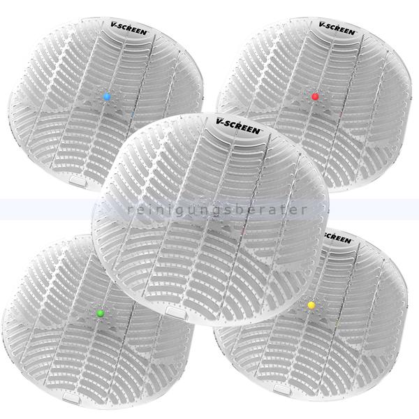 Urinalsieb V-SCREEN mit Duft 5 verschiedene Düfte im Set