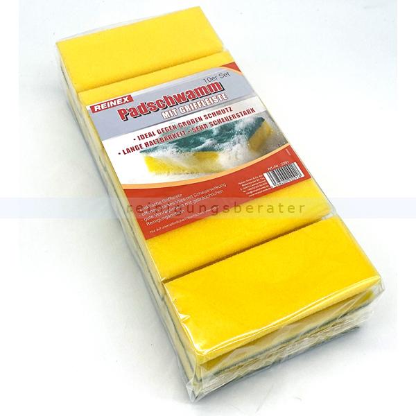Vliesschwamm Reinex Topfkratzer Pad Schwamm gelb grün 10er