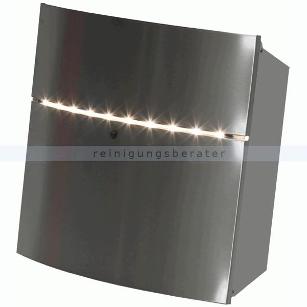 wandbriefkasten mit led beleuchtung edelstahl silber grau. Black Bedroom Furniture Sets. Home Design Ideas
