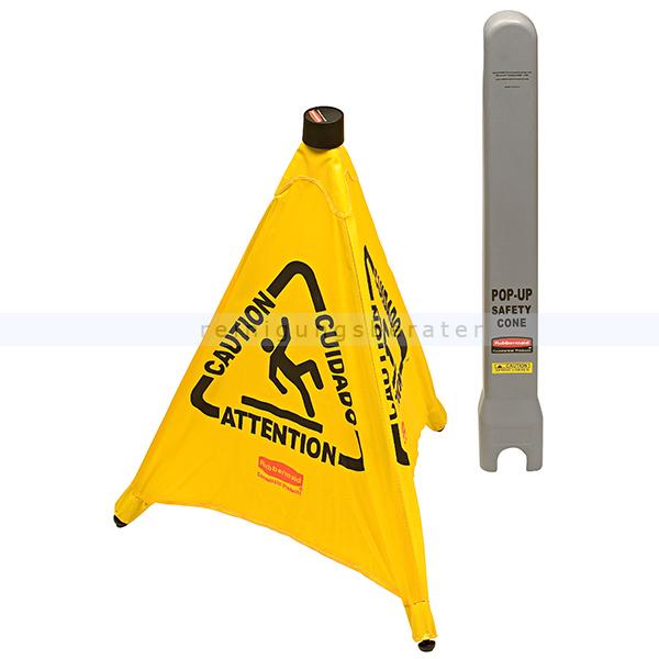Warnschild Rubbermaid Klappbarer Warnaufsteller klein gelb mit multisprachigem Warnsystem 76165951