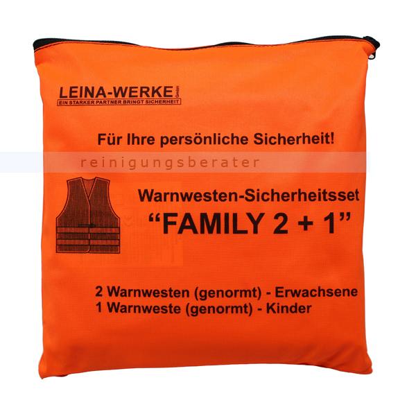 Leina Werke Warnweste Leina Warnwesten-Set FAMILY 2 plus 1 2 Westen DIN 20471, 1 Weste DIN 1150 13121