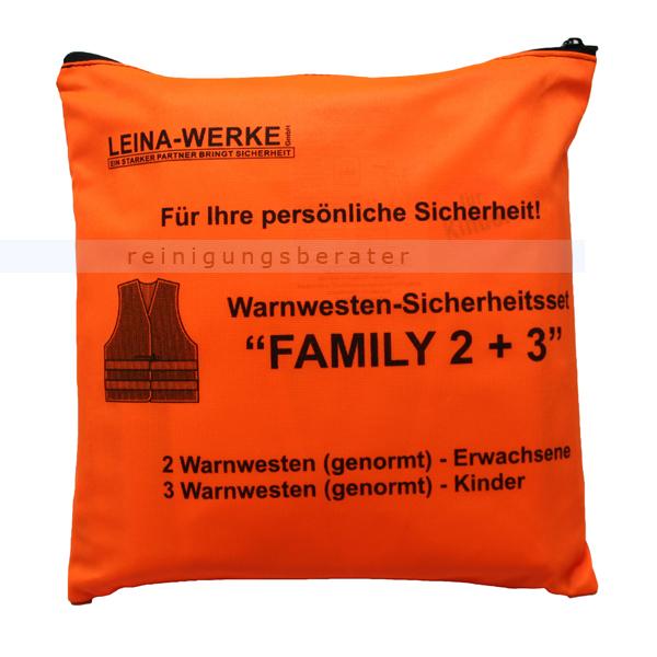 Leina Werke Warnweste Leina Warnwesten-Set FAMILY 2 plus 3 2 Westen DIN 20471, 3 Westen DIN 1150 13123