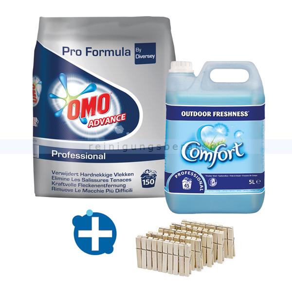 ReinigungsBerater Waschmittelset Omo Advance inkl. Weichspüler und Klammern hochwertiges Vollwaschmittel, Weichspüler, 50 Wäscheklammern
