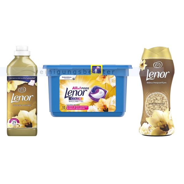Lenor Kombipaket Orchidee mit Tabs, Weichspüler & Parfüm Weichspüler 870 ml, Wäschetabs Allin1, Wäscheparfüm 15 WL