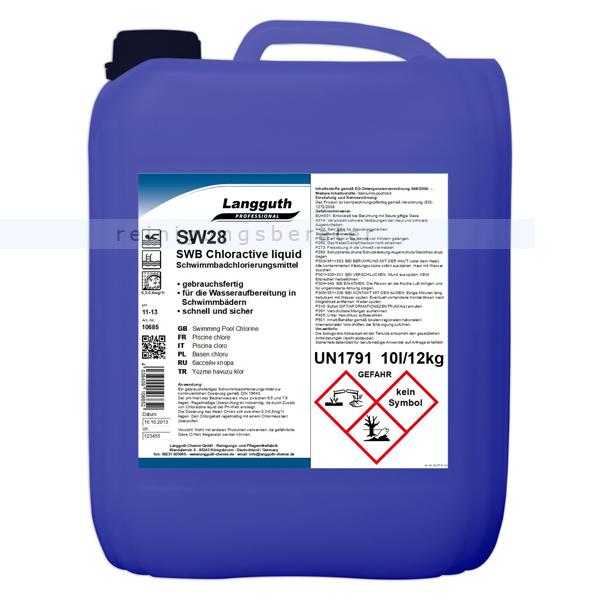 Wasserdesinfektion Langguth Chlor Flüssig 10 L gebrauchsfertiges Schwimmbadchlorierungsmittel DIN 19643 10685