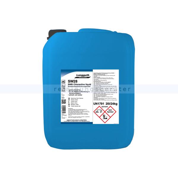 Wasserdesinfektion Langguth Chlor Flüssig 20 L gebrauchsfertiges Schwimmbadchlorierungsmittel DIN 19643 10431