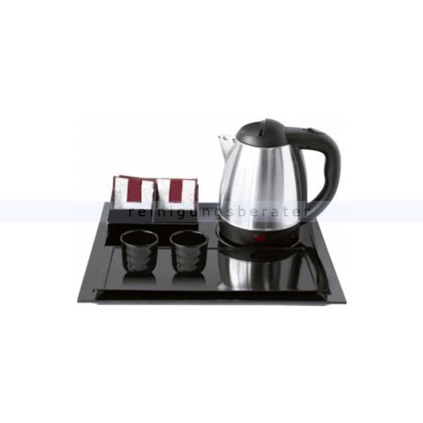 Wasserkocher Simex Black Line mit 3 Serviertabletts 1,2 L Wasserkocher aus Edelstahl/Kunststoff, 3 Tabletts, 2 Tassen 08009
