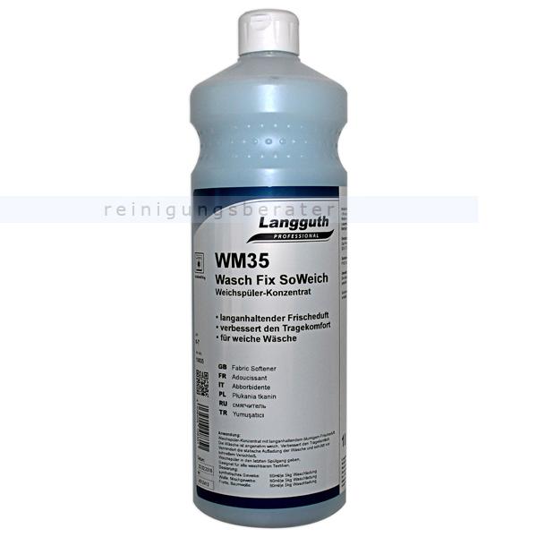 Weichspüler Langguth WM35 SoWeich 1 L angenehmer Duft, spült flauschig weich, für alle Gewebearten 10835