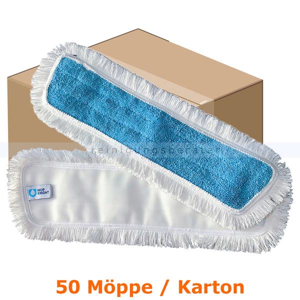 Wischmop MopKnight Mikrofaser Klett Mop 50 cm Karton 50 Stück, zur Treppenhausreinigung und Unterhaltsreinigung 11014